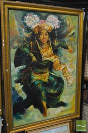 Sale 8537 - Lot 2160 - Balinese School, Ceremonial Dancer, acrylic on canvas, frame size: 168 x 118cm, signed lower right
