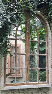 Sale 8568A - Lot 174A - A shabby chic vintage French arched window frame fitted with mirror, H 134 x W 87cm