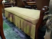 Sale 8653 - Lot 1071 - Late 19th Century Cedar Miners Settle, the raised swept ends with turned rails, the slatted seat with gold fabric cushion with va...