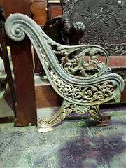 Sale 8653 - Lot 1093 - Possibly Victorian Cast Iron Bench Ends, with foliate scroll work