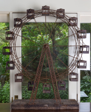 Sale 8677B - Lot 826 - An iron and timber working scale model of a ferris wheel, H x 110cm