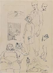 Sale 8695A - Lot 5042 - Russell Drysdale (1912 - 1981) - Sheet of Drawings, c1946 38 x 28cm