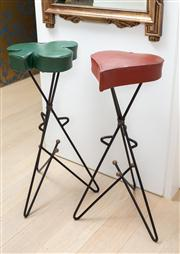 Sale 8703A - Lot 28 - A pair of vintage Vegas casino stools of red heart and green club design on triform base, H x 86cm