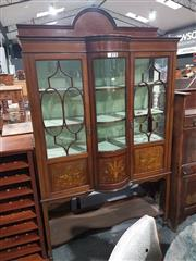 Sale 8740 - Lot 1701 - Edwardian Inlaid & Painted Mahogany Bow Front Display Cabinet, with three astragal doors with painted panels below & open shelf (key...
