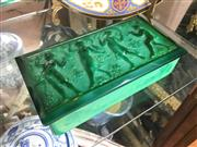 Sale 8730B - Lot 47 - Malachite Glass Trinket Box With Ornate Lid Depicting Piper and Dancers W: 17cm