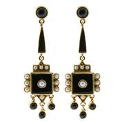 Sale 8974 - Lot 345 - A PAIR OF 9CT GOLD ONYX AND SEED PEARL EARRINGS; drop earrings in the Victorian style set with onyx and seed pearls to post and butt...