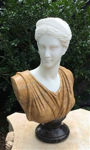 Sale 9015G - Lot 24 - Carved Marble Diana Lady Bust. General Wear ,Nature Stone Vein Line .Slight chipping at the base of back, Size: 52cm H x 31cm Widest