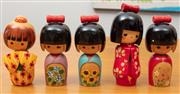 Sale 9044H - Lot 85 - A set of five wooden Kokeshi dolls