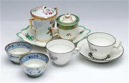 Sale 9093P - Lot 56 - C19th English and Chinese Cups and Dish (Faults)