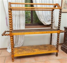 Sale 9120H - Lot 343 - An unusual C19th pine bobbin turned and caned top towel rail. Height 114cm x Width 126cm x Depth 35cm