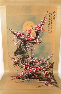 Sale 9119 - Lot 114 - A hand painted Chinese scroll featuring bells and blossoms L: 200cm W:75cm
