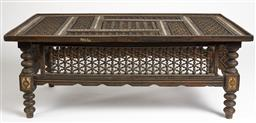 Sale 9135H - Lot 84 - An Eastern influenced coffee table with intricate carving, height 48, width 120, depth 71cm