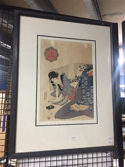Sale 9130 - Lot 2090 - A Japanese Woodblock print depicting a woman smoking a pipe, frame: 66 x 52 cm