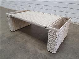 Sale 9137 - Lot 1083 - Vintage folding cane serving tray or side table with magazine racks (h26 x w72 x d40cm)
