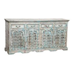 Sale 9216S - Lot 6 - A beautiful distressed timber sideboard with four drawers and four doors, Height 90cm x Width 180cm x Depth 39cm