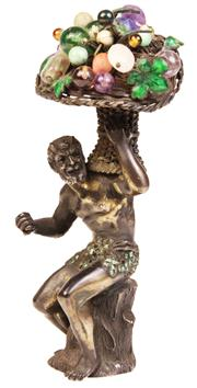 Sale 7978 - Lot 7 - Bronze Elohim Figure Carrying a Basket of Gemstone Fruit