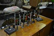 Sale 8066 - Lot 1062 - 2 Bankers Style Lamps w 4 Art Glass Lamps
