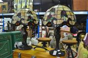 Sale 8328 - Lot 1044 - Pair of Leadlight Shade Table Lamps