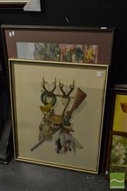 Sale 8503 - Lot 2088 - 2 x Framed Works incl. Original Pastel Landscape & Hunting Theme Needlework