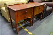 Sale 8507 - Lot 1035 - Pair of Timber Bedsides