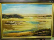 Sale 8557 - Lot 2034 - Artist Unknown, Gold Landscape, 74 x 105cm frame, signed Vallen lower right