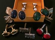 Sale 8562A - Lot 185 - A small quantity of cufflinks including malachite in 925 silver, lapis lazuli in 14kt gold, and others