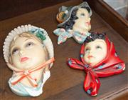 Sale 8590A - Lot 29 - Three Italian pottery wall masks of mid-century ladies, various damages