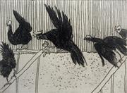 Sale 8695A - Lot 5043 - William Robinson (1936 - ) - Rooster in Flight with Hens, 1979 39 x 32.5cm