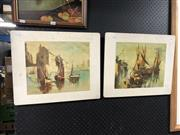 Sale 8850 - Lot 2045 - Pair of Timber Decorative Prints (af)