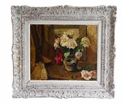 Sale 8912H - Lot 56 - Antique Belgium impressionist still life oil on canvas by Victor Le Clercq 1896-1944 signed. 47 x 56 cm in a heavy French carved frame