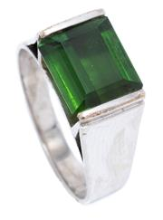 Sale 8991 - Lot 321 - A RETRO 9CT WHITE GOLD TOURMALINE RING; set with an approx. 4.5ct step cut green tourmaline, size Q, wt. 6.08g.