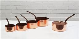 Sale 9126 - Lot 1032 - Good set of 4 French copper graduating saucepans and another