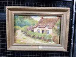 Sale 9127 - Lot 2017 - A quaint country oil painting of a cottage in spring, oil on canvas, frame: 38 x 54 cm -