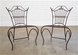 Sale 9174 - Lot 1432 - Pair of ornate metal outdoor chairs (h90 x w60 x d33cm)