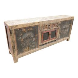 Sale 9216S - Lot 2 - A rare painted timber Chinese sideboard from Shaanxi Province, Height 94cm x Width 219cm x Depth 44cm
