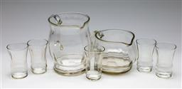 Sale 9253 - Lot 307 - A vintage fluted glass five person drinks suite together with another jug (H:16.5cm and 11cm - jugs)