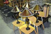 Sale 8165 - Lot 1067 - Set of 4 Amber Shade Table Lamps