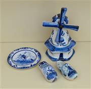Sale 8270 - Lot 67 - A collection of 4 pieces of Delft Blue incl. windmill, H 13cm