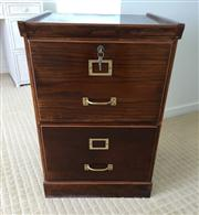Sale 8259A - Lot 26 - A Victorian Style Two Drawer Filing Cabinet, fitted with brass highlights and lockable, h 72 w 49 d 47