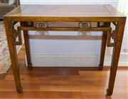 Sale 8308A - Lot 159 - A Chinese rectangular form side table, with decorative pierced apron, H 86 x W 100 x D 52cm