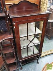 Sale 8402 - Lot 1054 - Edwardian mahogany Display Cabinet with Astrigal Door and Cabriole Legs joined by Shelf(Key in Office)