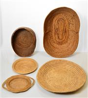 Sale 8409A - Lot 596 - Collection of Baskets, Bilum Bags (2) and Kotekas (2) (PNG) natural fibres, gourd various sizes
