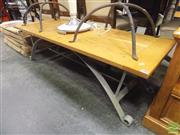 Sale 8406 - Lot 1036 - Oak Top Coffee Table On Wrought Iron Base