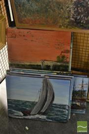 Sale 8541 - Lot 2103 - John Colbert (XX) (8 works) - Various Street, Landscape, Beach and Sail Ship Scenes, acrylics on canvas, each signed, various sizes.