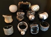 Sale 8562A - Lot 186 - An impressive selection of dress and cocktail rings including organic form