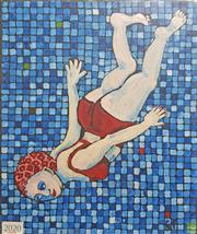 Sale 8604 - Lot 2020 - Georgie Faircloth - Swimming Lady 2005 oil of canvas 30.5 x 25.5cm (frame size) signed dated & enscribed verso