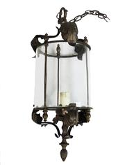 Sale 8912H - Lot 38 - Early 20th C French bronze lantern single light , cylinder shaped glass approx. size overall without chain 53cm x  25 cm