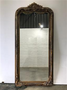 Sale 9102 - Lot 1063 - Large gilded timber framed mirror (h:210 x w:98cm)