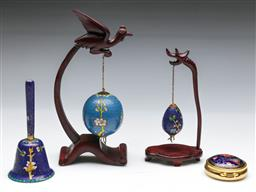 Sale 9144 - Lot 418 - Small collection of cloisonne wares inc bell (H:12cm), pill box and 2 eggs on stands (H:19cm) - taller stand damaged