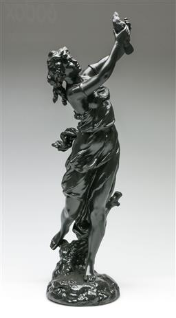 Sale 9209V - Lot 46 - A painted spelter figure of lady holding bird (H: 54cm)